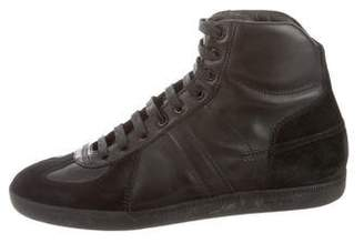 Christian Dior Round-Toe High-Top Sneakers