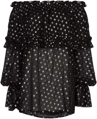 Saint Laurent Metallic Polka Dot Off-The-Shoulder Top