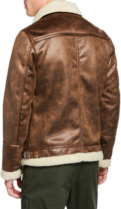 Slate & Stone Men's Faux-Leather Buckled-Neck Jacket, Brown