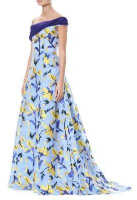 Carolina Herrera Off-The-Shoulder Printed Gown