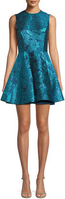 Alice + Olivia Stasia Sleeveless Fit-and-Flare Metallic Paisley-Jacquard Party Dress