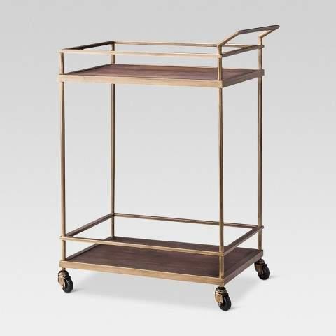 Threshold Wood & Brass Finish Bar Cart