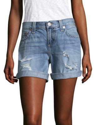 True Religion Jayde Distressed Bermuda Shorts $159 thestylecure.com