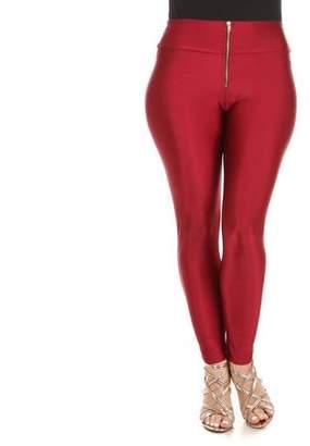 K Glam Women's Plus Zip Front High Waist High Shine Leggings