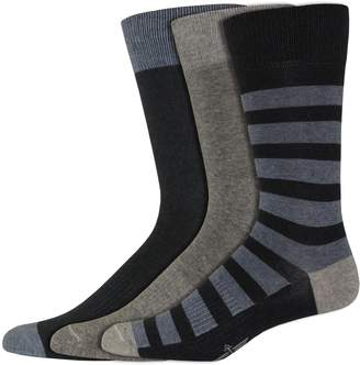 Dockers Men's Classic Smart 360 Flex 3-pack Rugby-Striped & Solid Casual Crew Socks