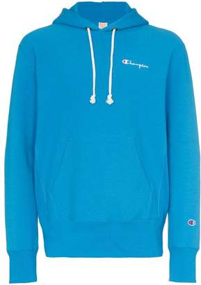 Champion logo embroidered hooded cotton jumper