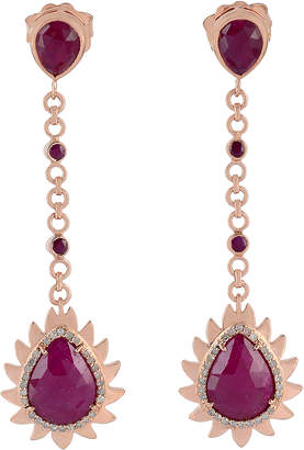 Meghna Jewels 18k Gold Flame Chain Drop Earrings