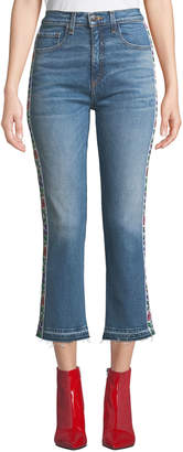 Contemporary Designer Ines Floral Tuxedo-Striped Jeans