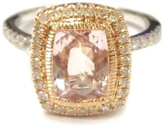 LOGR-Ring Sets Cushion Morganite Engagement Ring Set Pave Diamond Wedding 14K White/Rose Two Tone Gold 6x8mm Bezel