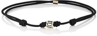 Luis Morais Men's Diamond-Studded Yellow Gold Bead-On-Cord Bracelet - Black