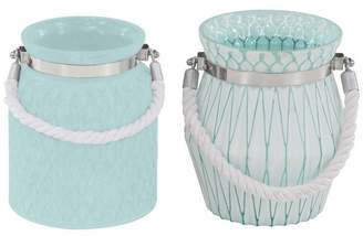 Brimfield & May Farmhouse Glass and Rope Geometric Designed Candle Lanterns, 2-Piece Set