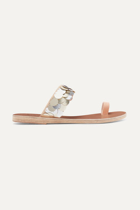 Ancient Greek Sandals Thraki Embellished Canvas And Leather Sandals - Silver