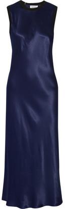 DKNY - Merino Wool-trimmed Satin Midi Dress - Navy $415 thestylecure.com
