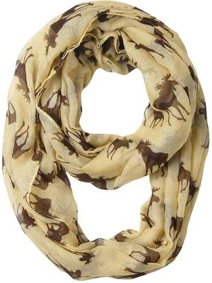 GERINLY Animal Circle Scarves: Cute Moose Print Infinity Loop Scarf