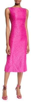 Brandon Maxwell Sleeveless Leopard-Jacquard Midi Sheath Cocktail Dress