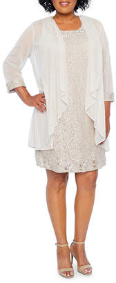 R & M Richards 3/4 Sleeve Embellished Jacket Dress - Plus