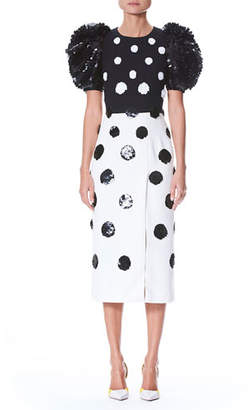 Carolina Herrera Short Puff-Sleeve Fitted Dotted Cocktail Dress