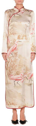 Flamingos F.R.S For Restless Sleepers on Lake Long-Sleeve Side-Split Silk Kimono Gown
