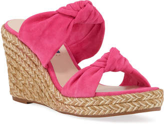 Stuart Weitzman Sarina Knotted Suede Wedge Sandals