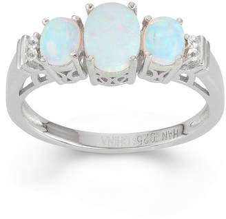 FINE JEWELRY Lab-Created Opal & White Sapphire Sterling Silver 3 Stone Ring