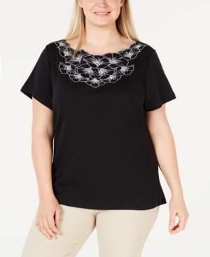 Karen Scott Petite Cotton Embellished Top, Created for Macy's