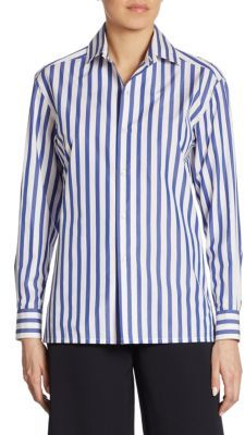 Ralph Lauren Collection Iconic Capri Striped Cotton Shirt $590 thestylecure.com