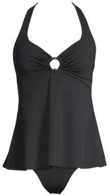 Miraclesuit Amoressa by Amoressa by Women's Meridian Virgo Halter Tankini Top - Black - Size 6