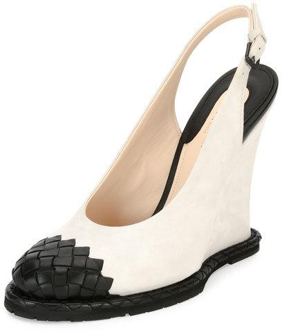 Bottega VenetaBottega Veneta Intrecciato-Toe Slingback Wedge Pump, White/Black