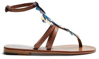 álvaro - Ariana Feather Embellished Sandals - Womens - Tan Multi