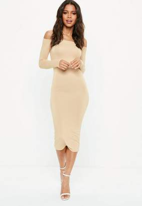 Missguided Nude Long Sleeve Bardot Bodycon Midi Dress