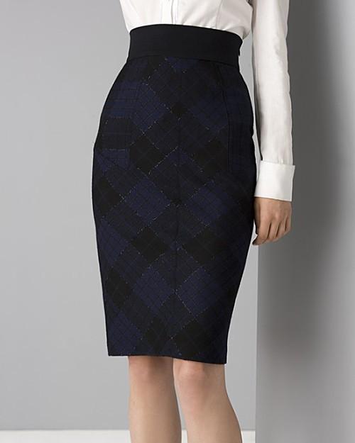 Diane von Furstenberg Women's Adame Glitter Plaid Pencil Skirt