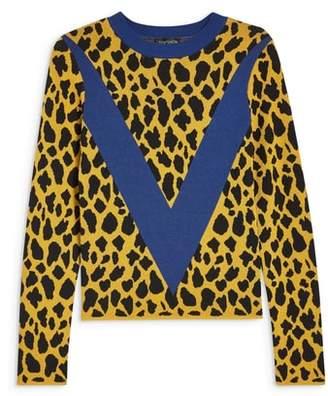 Topshop Leopard Chevron Sweater