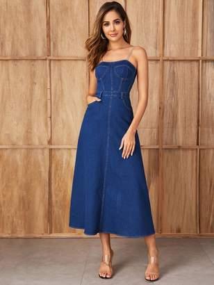 Shein Zip Back Fit & Flare Chain Strap Denim Dress