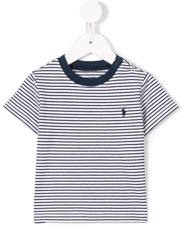 logo embroidered striped T-shirt