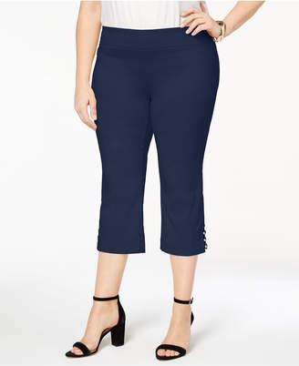 JM Collection Plus Size Lattice-Hem Capri Pants, Created for Macy's