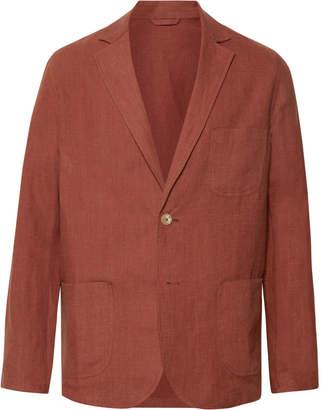 De Bonne Facture Brick Brushed-Linen Suit Jacket