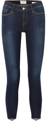 Frame Le Skinny De Jeanne Scoop Mid-rise Jeans - Dark denim