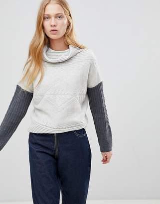 Shae Contrast Arm High Neck Wool and Cashmere Blend Sweaters