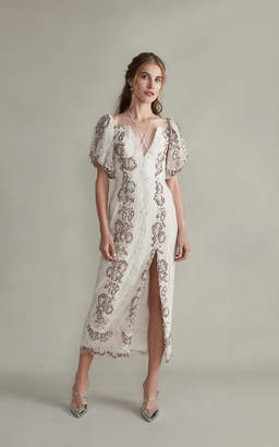 Markarian Hestia V-Neck Midi Embroidered Lace Dress With Front Slit