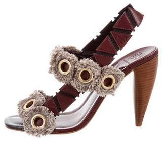 Tory Burch Leather Fringe-Trimmed Sandals