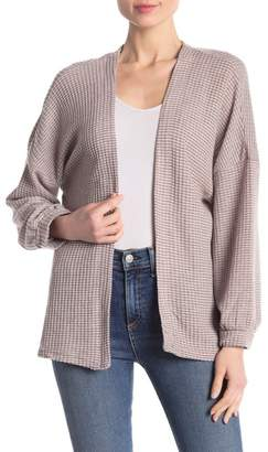 Poof Striped Thermal Balloon Sleeve Cardigan