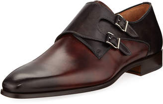 Magnanni Hand-Antiqued Calf Two-Tone Dress Shoe, Dark Brown
