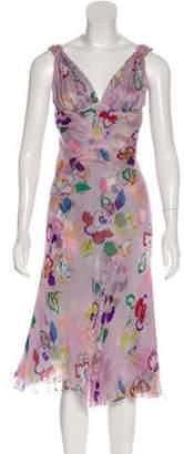 J. Mendel Printed Midi Dress Pink Printed Midi Dress