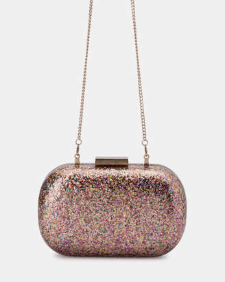 Olga Berg Sparkle Glitter Acrylic Clutch