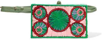 Sophie Anderson - Mia Leather-trimmed Raffia Belt Bag - Pink