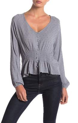 Anama Woven Button Front Top