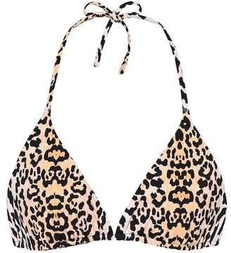 Reina Olga Love Triangle leopard-print bikini top