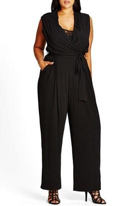 Plus Size Women's City Chic Samurai Lace Inset Surplice Jersey Jumpsuit $99 thestylecure.com