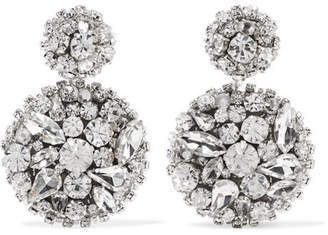 Oscar de la Renta Silver-tone Swarovski Crystal Clip Earrings