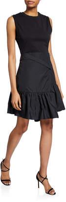 3.1 Phillip Lim Asymmetrical T-Shirt Dress w/ Overlap Skirt